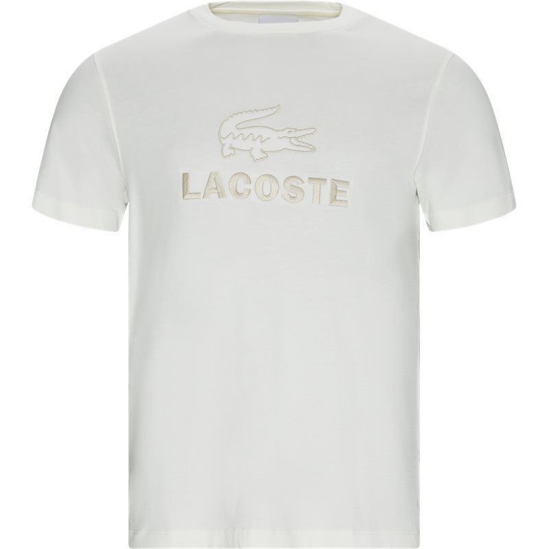 Image of   Lacoste Crew Neck Tone-on-tone Lacoste Embroidery Cotton T-shirt Off White